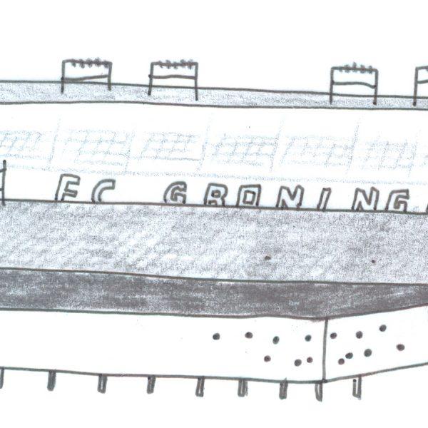 Voetbalstadion Groningen FC schets