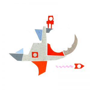 Paper art illustratie Zeeschip